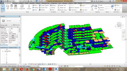سقف کاذب مدلسازی شده در نرم افزار رویت 2017 و در محیط System Families