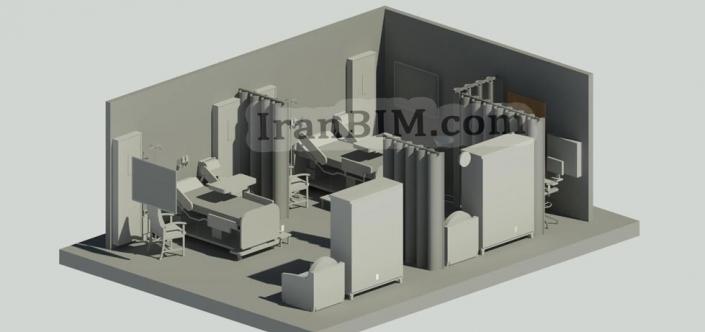اتاق بیمار در رویت مدل آماده Hospital room