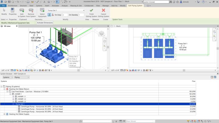 پمپ ها را بصورت موازی در در revit 2019 شبکه های لوله کشی هیدرولیک نصب و تحلیل می کنند