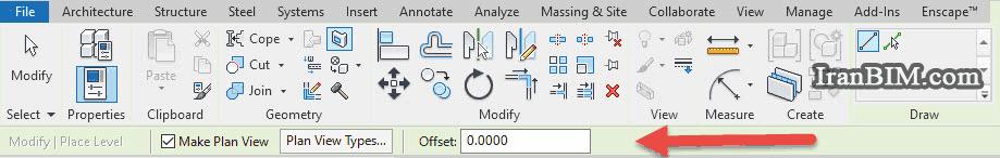 زمانیکه ما گزینه level را نتخاب میکنیم در قسمت optiom bar یک سری گزینه برای ما نمایش داده میشود