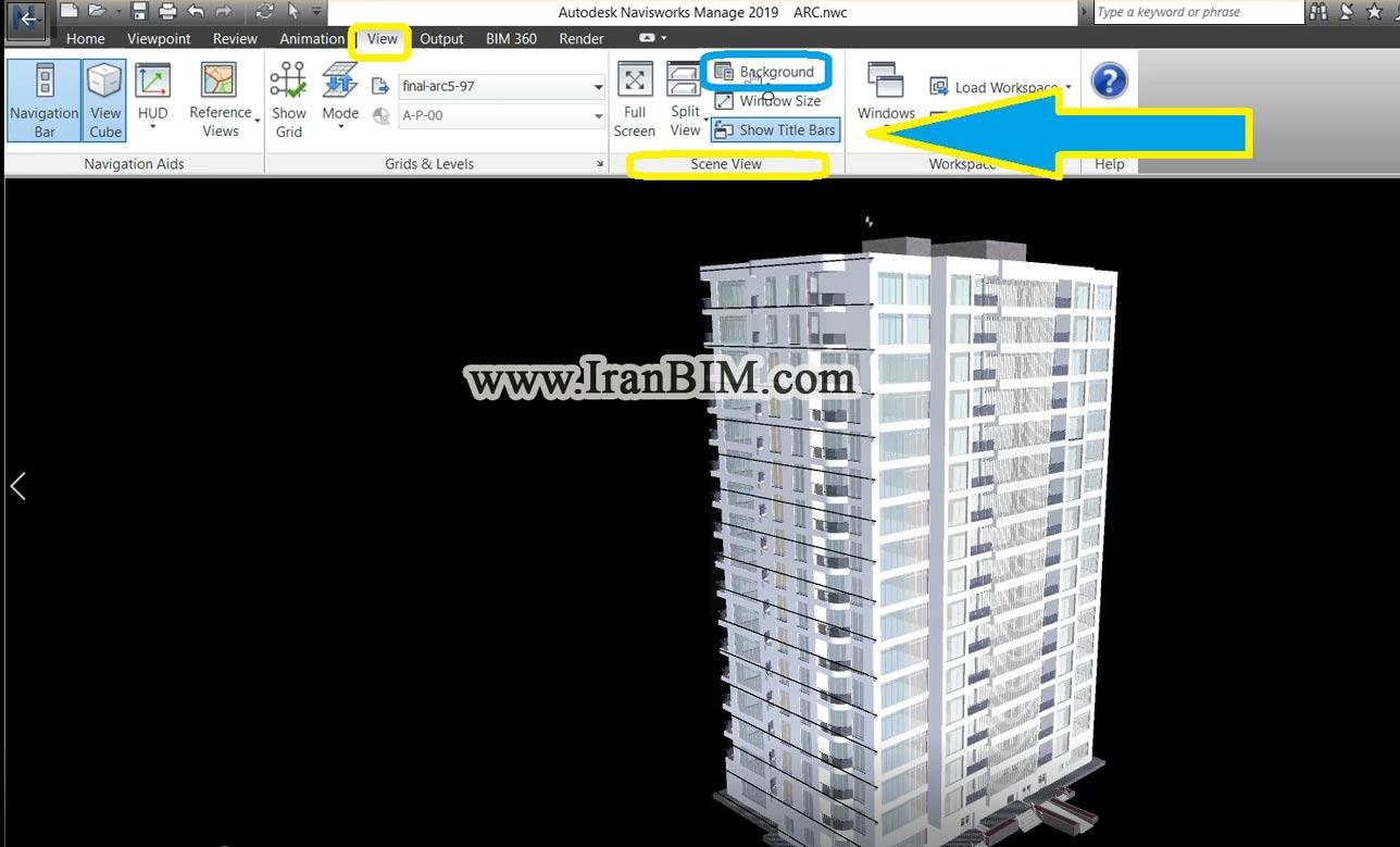 تب View بخش Scene View در نرم افزار NavisWorks