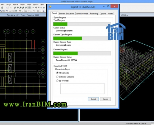 تبدیل فایل Revit به Etabs  به وسیله Nassers Tools Export to ETABS :