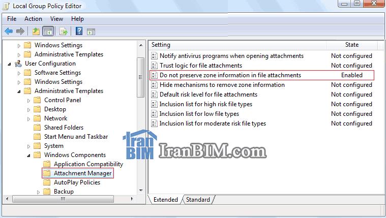 مسیر پالیسی Do not preserve zone information in file attachments